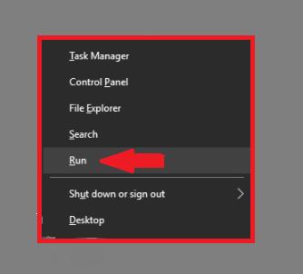 Open Run Dialog Box in Windows 10 with Power User Menu