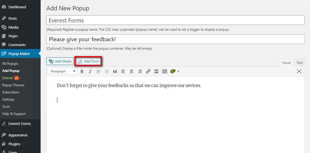 worpress popup form editor