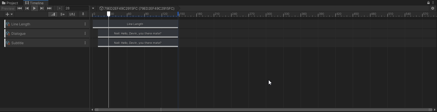 """A screenshot of one of our lines in Unity's sequencing tool called 'Timeline'. There are three tracks: Line Length, Dialogue, and Subtitle. Each Track has a single Clip on it. The Clips display the text of the line: """"Neil: Hello, Devin, you there mate?"""""""