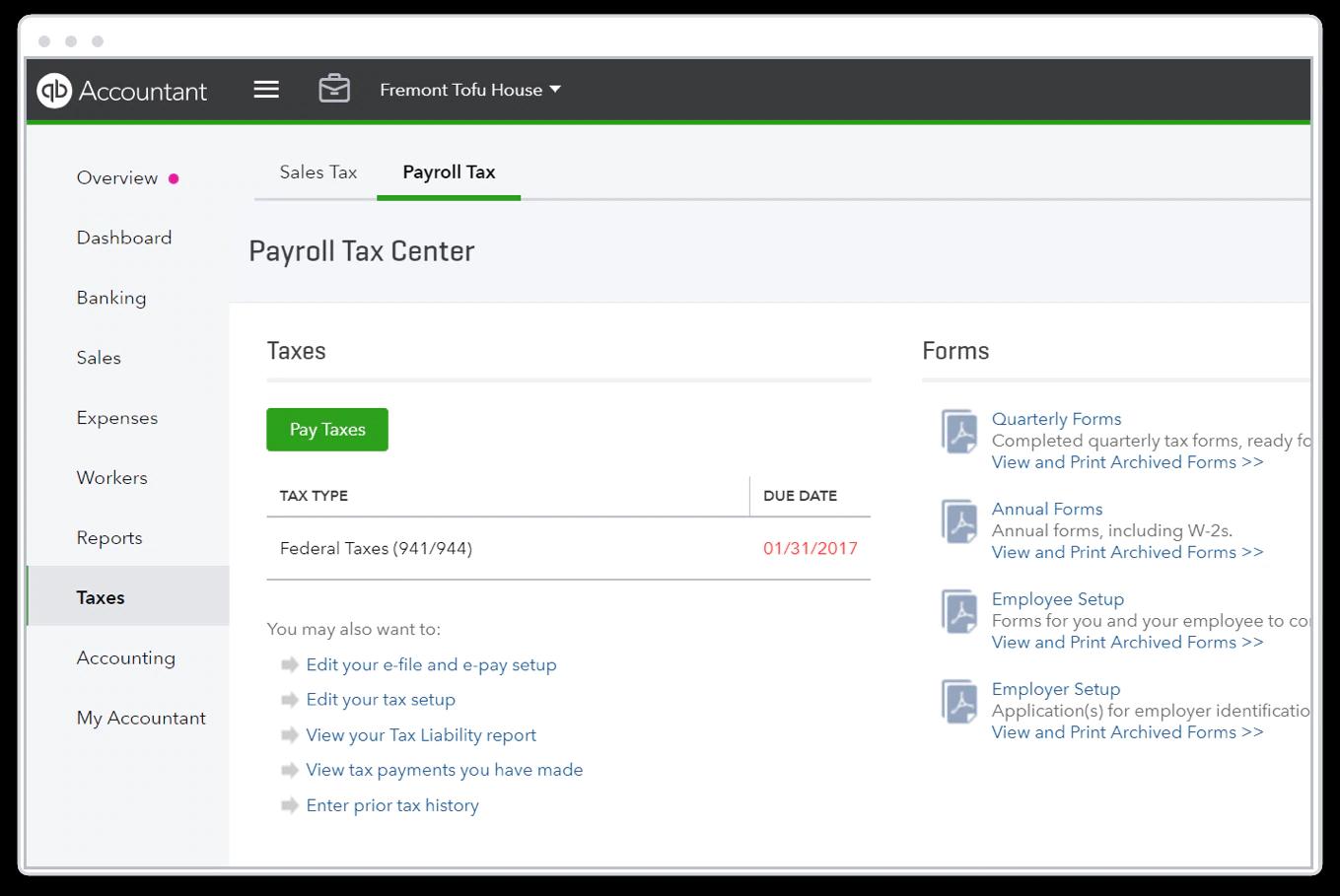 Quickbook Online payroll : single platform