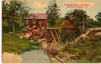 Schoolhouse & Bridge Tinted Postcard