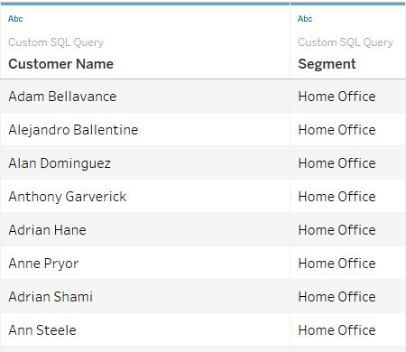 Custom SQL Query Result Grid
