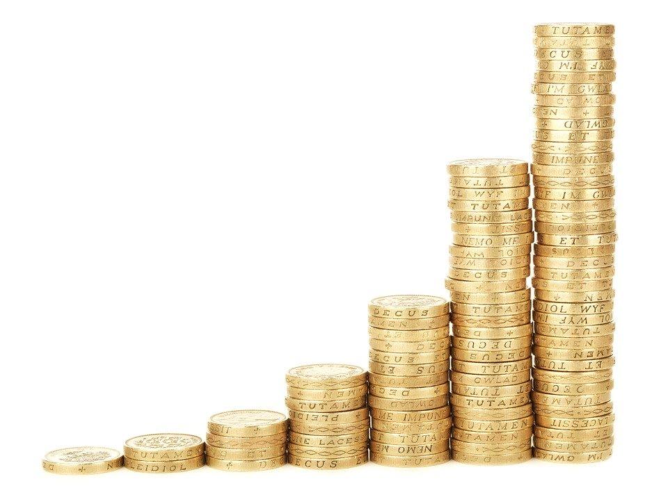 達成, バー, ビジネス, グラフ, コイン, 図, 収益, ファイナンス, 利得, 成長, 金利, お金
