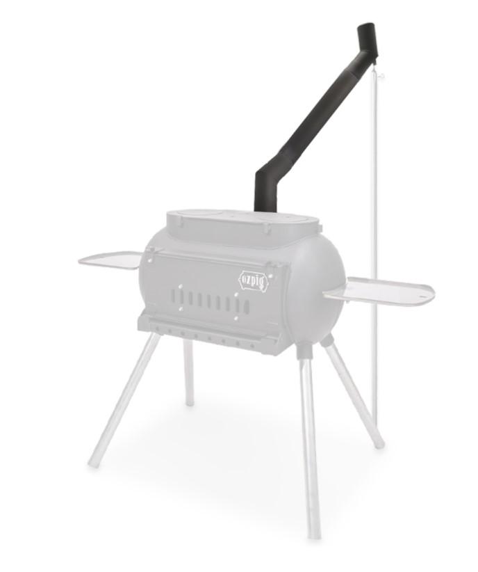 This image shows how an Ozpig Big Pig Offset Chimney is setup