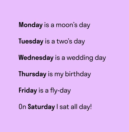 стишок для запоминания дней недели на английском