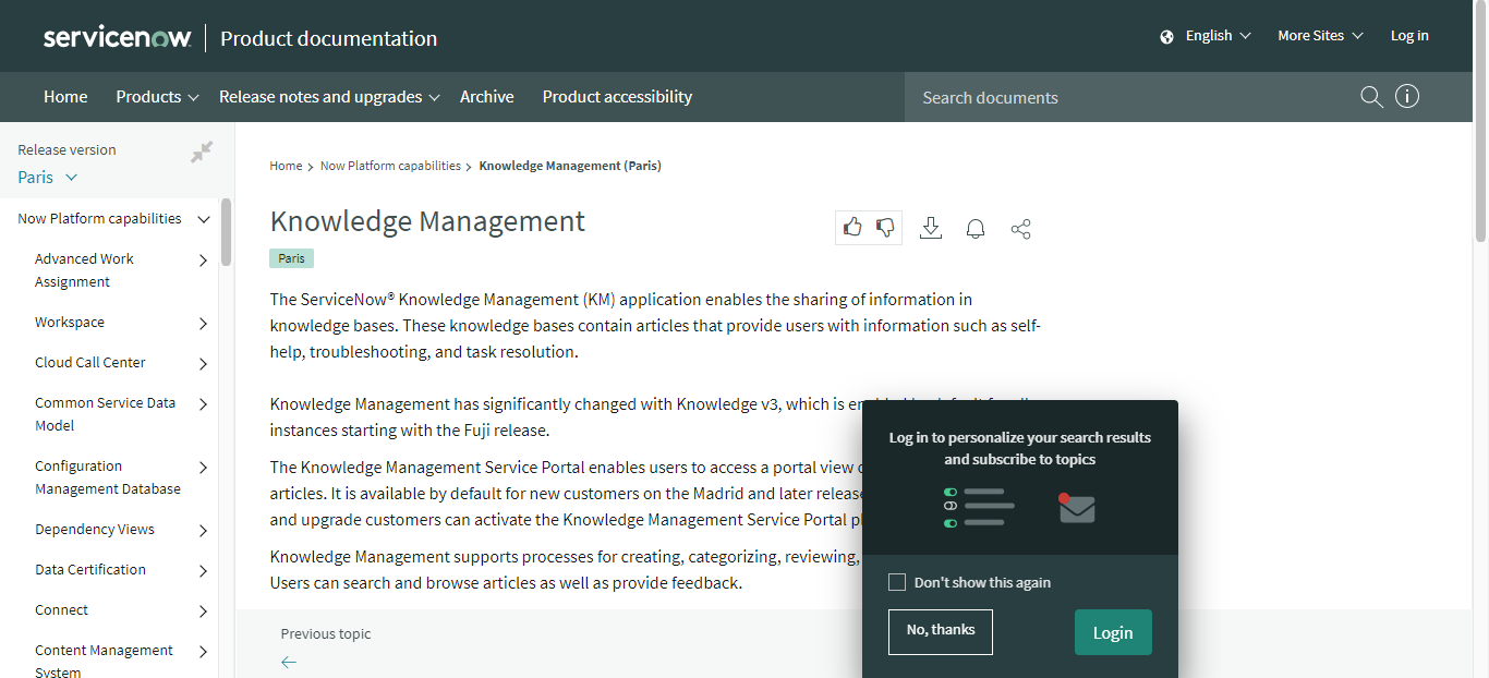 ServiceNow Knowledge Management Software