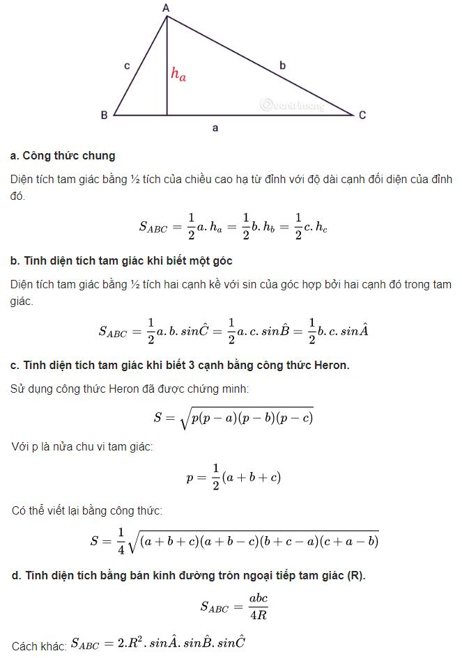 Các cách tính diênh tích tam giác