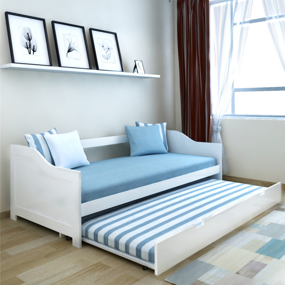 A day bed with a trundle is a great bed for a guest bed room. The day bed tends to be a bit awkward to sit on since it's as deep as a twin mattress (at a minimum), but the space savings and general look is stunning. Image from ebay.com.