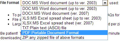 Choose your file's format