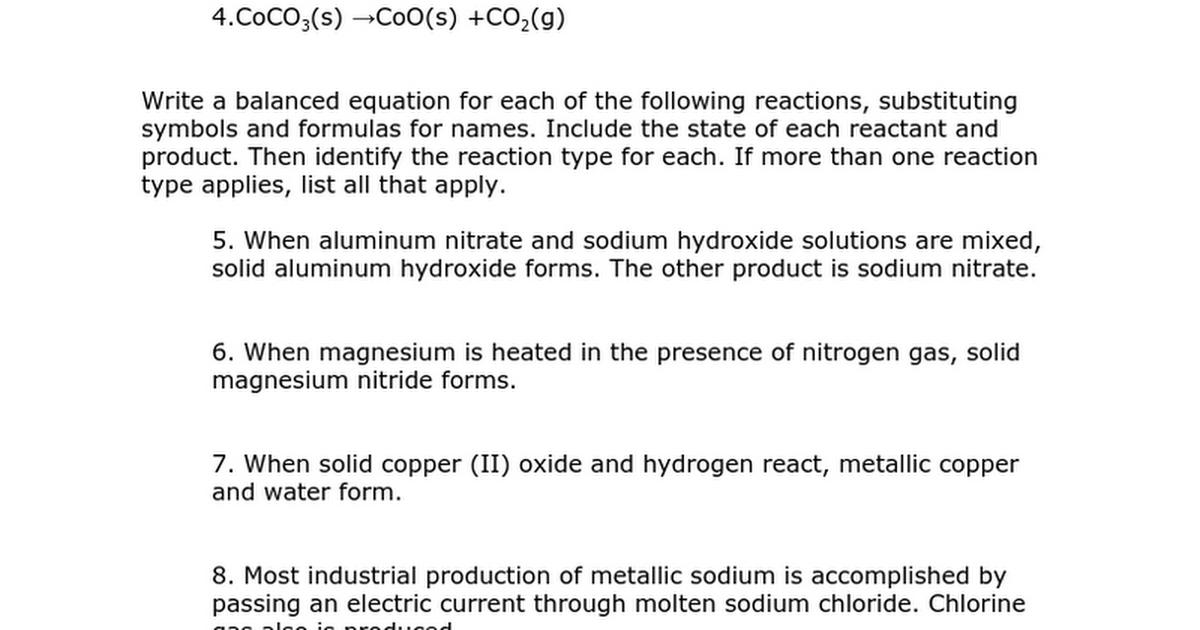 Chemical Reactions Supplemental Problemscx Google Docs