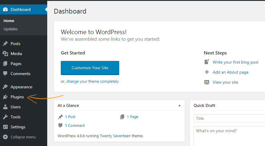Clicking on plugins section in your WordPress