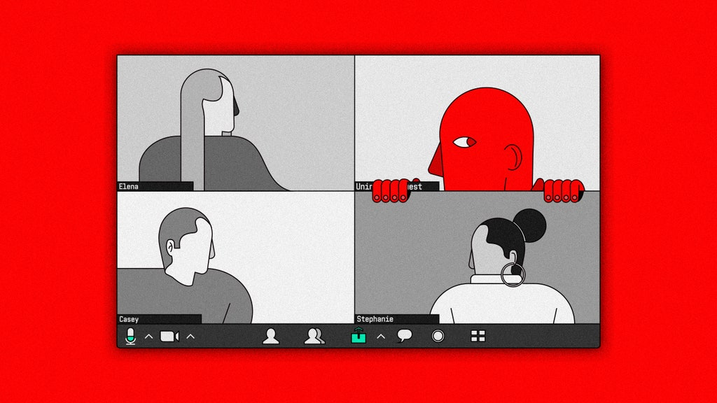 Cartoon image of a zoom video chat with three people and a fourth intruder peeking through