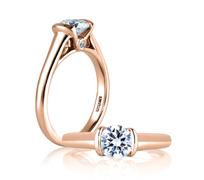 Sleek Center Bezel, Accent Profile Diamond Solitaire Ring in Rose Gold by A. Jaffe