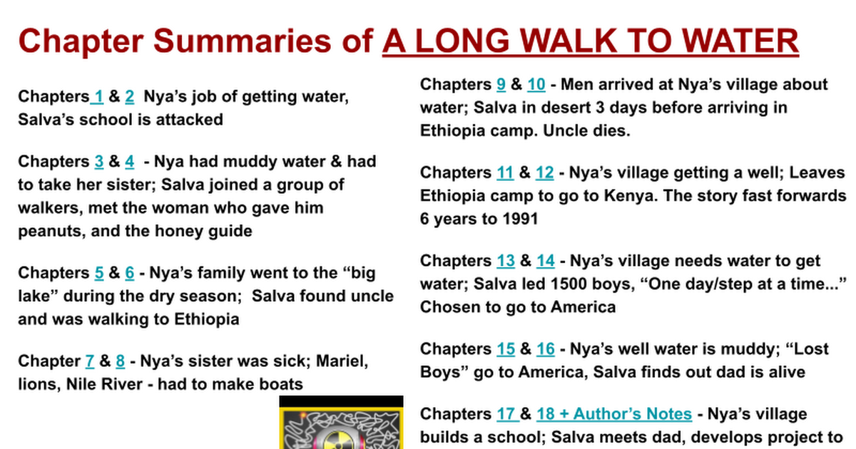 Chapter Summaries of A LONG WALK TO WATER - Google Slides