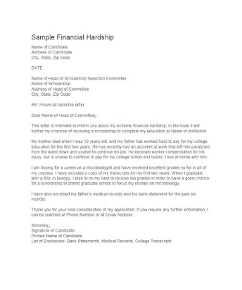 free financial hardship letter templates