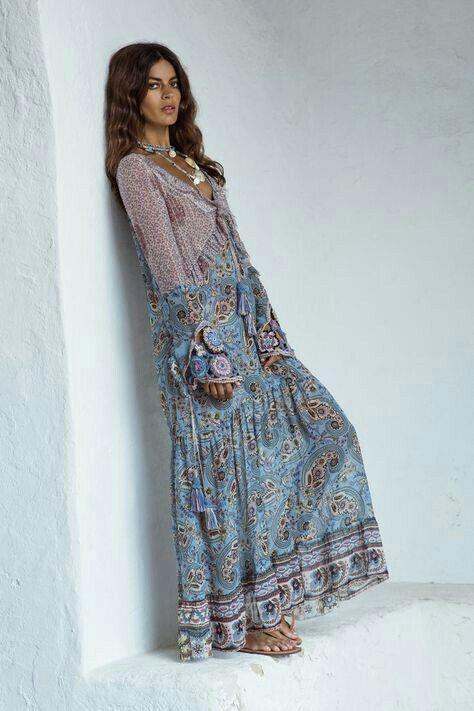 Maxi Boho Style Fall Dress | Boho fashion, Maxi dresses casual, Fashion