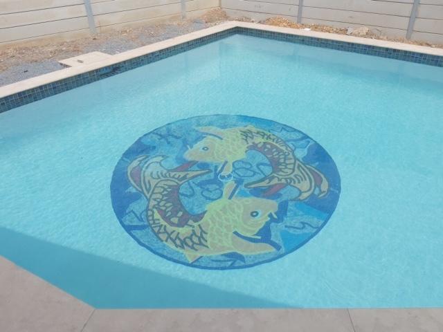KOI FISH MARBLE MOSAIC ART NAUTICAL by Mozaico