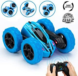 JYToyz RC Stunt Car, Kids Toys Remote Control Racing Car 4WD Double Sided 360° Spins and Flips with LED Lights Driving Cars Toys for Kids Toddlers (Blue)