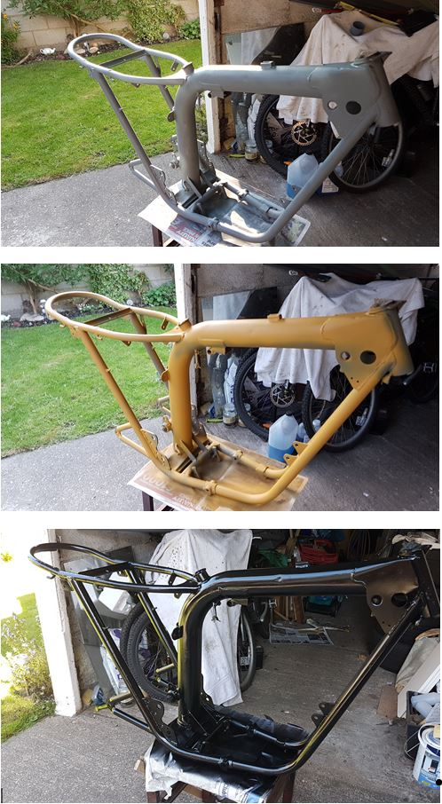 Triumph Bonneville T120 OIF frame being painted in primer and then black top coat in stages.