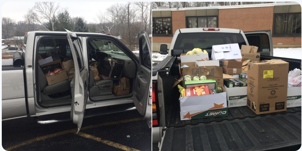 two pictures of a truck loaded with donated canned goods from the middle school for the local homeless shelter.