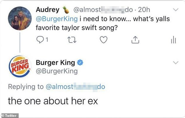 Burger King tweeting a sexist comment about Taylor Swift