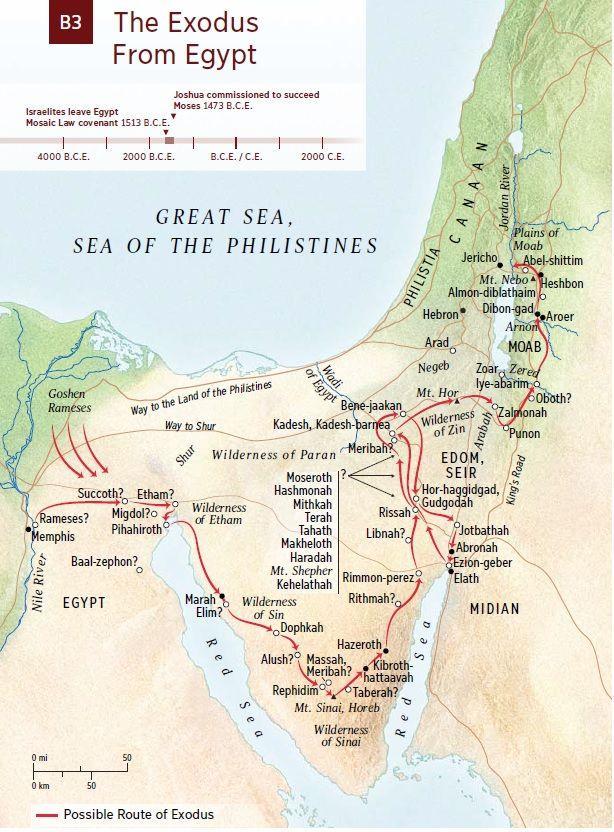 Exodus Map | Bible mapping, Bible genealogy, Bible study