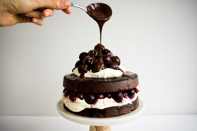 Top with chocolate ganache.