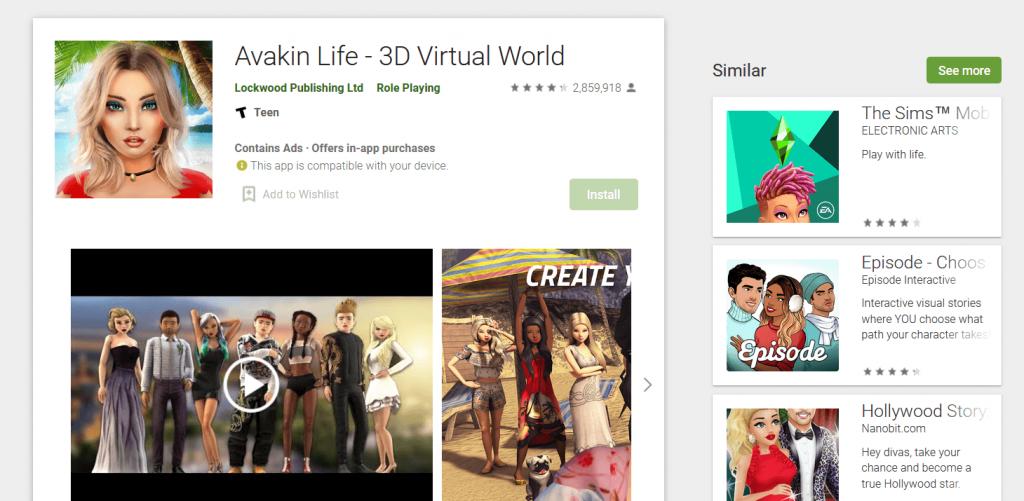 افاكين لايف ''Avakin Life''  للاندرويد متوفرة على Google Play Store