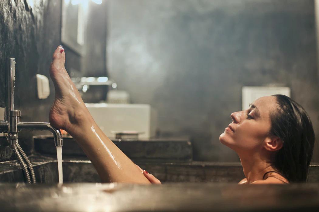 enjoying in hot tub