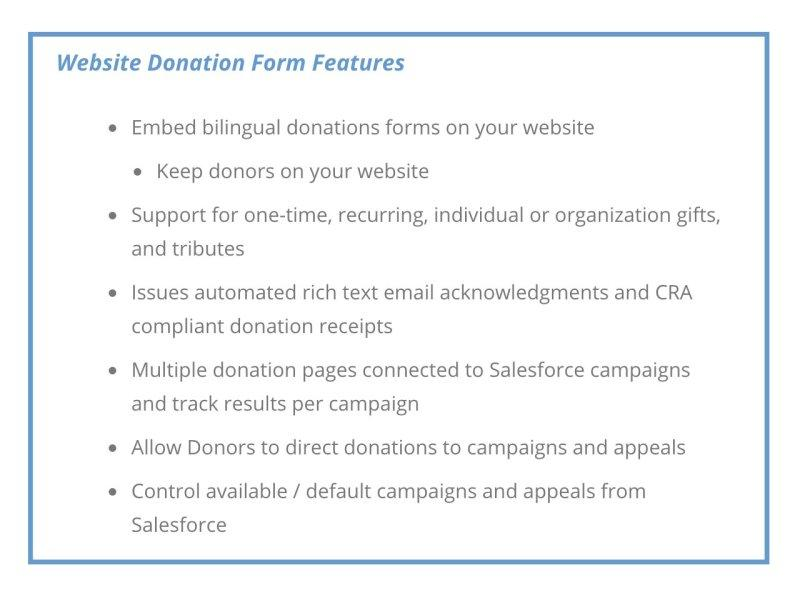 Website donation form features with cloudStack's fundraisingManager platform