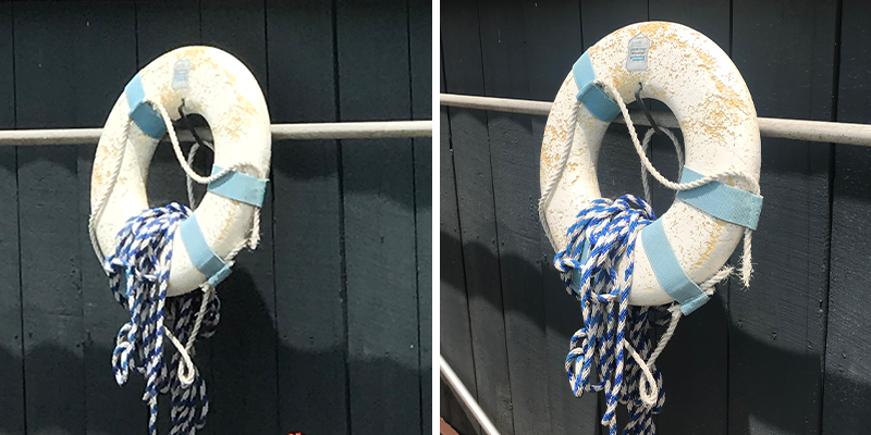 Split-photo of lifesaver ring; on the left side, the photo is low-resolution. On the right side, the photo is high-resolution.