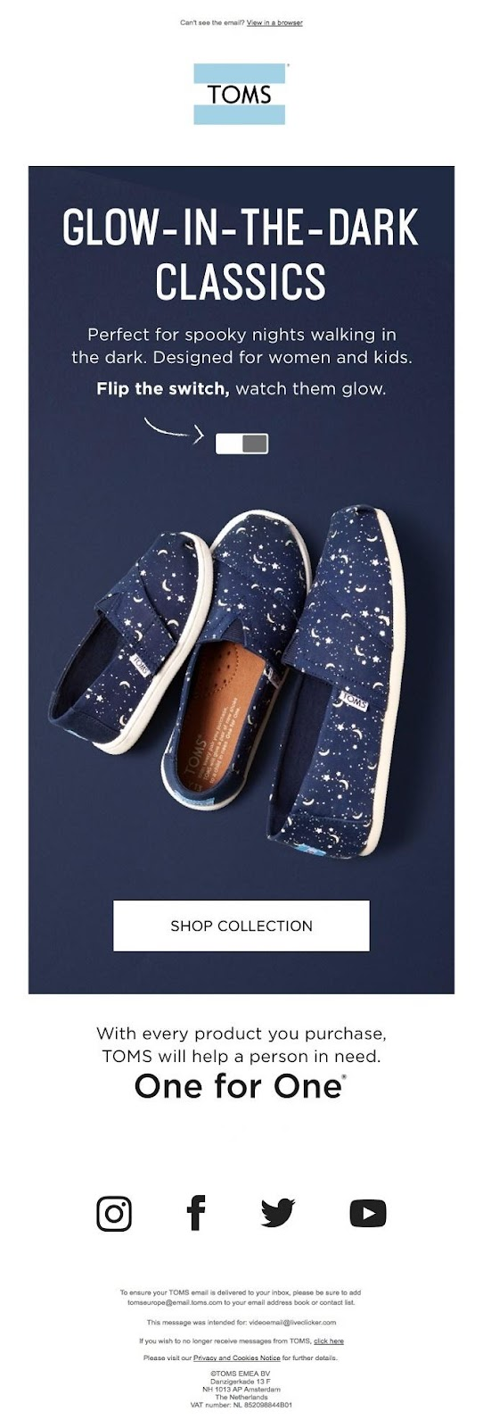 TOMs email campaign