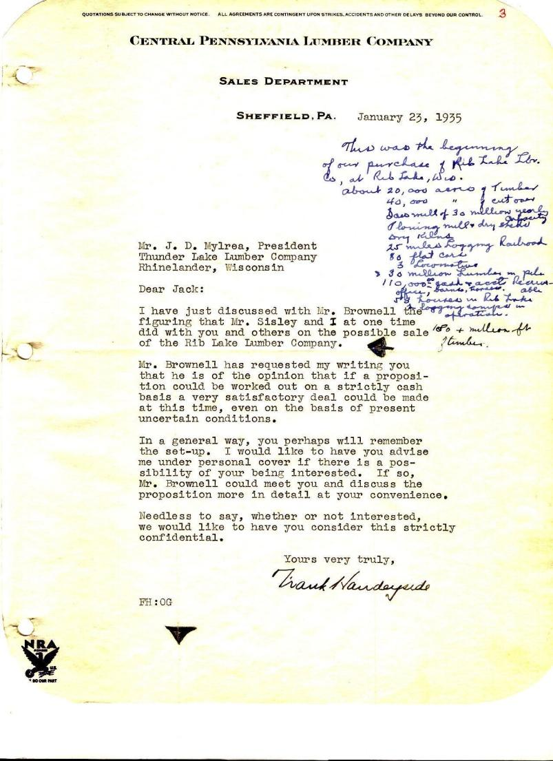 C:\Users\Robert P. Rusch\Desktop\II. RLHSoc\Documents & Photos-Scanned\Rib Lake History 11500-11599\11554-L. 1-23-1935 Frank Handeyside of Central Pennsylvania Lumber Company (CPLC) to John D. Mylr.jpg