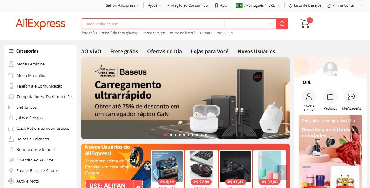 Conheça os principais recursos do AliExpress para arrasar nas compras virtuais. (AliExpress/Reprodução)