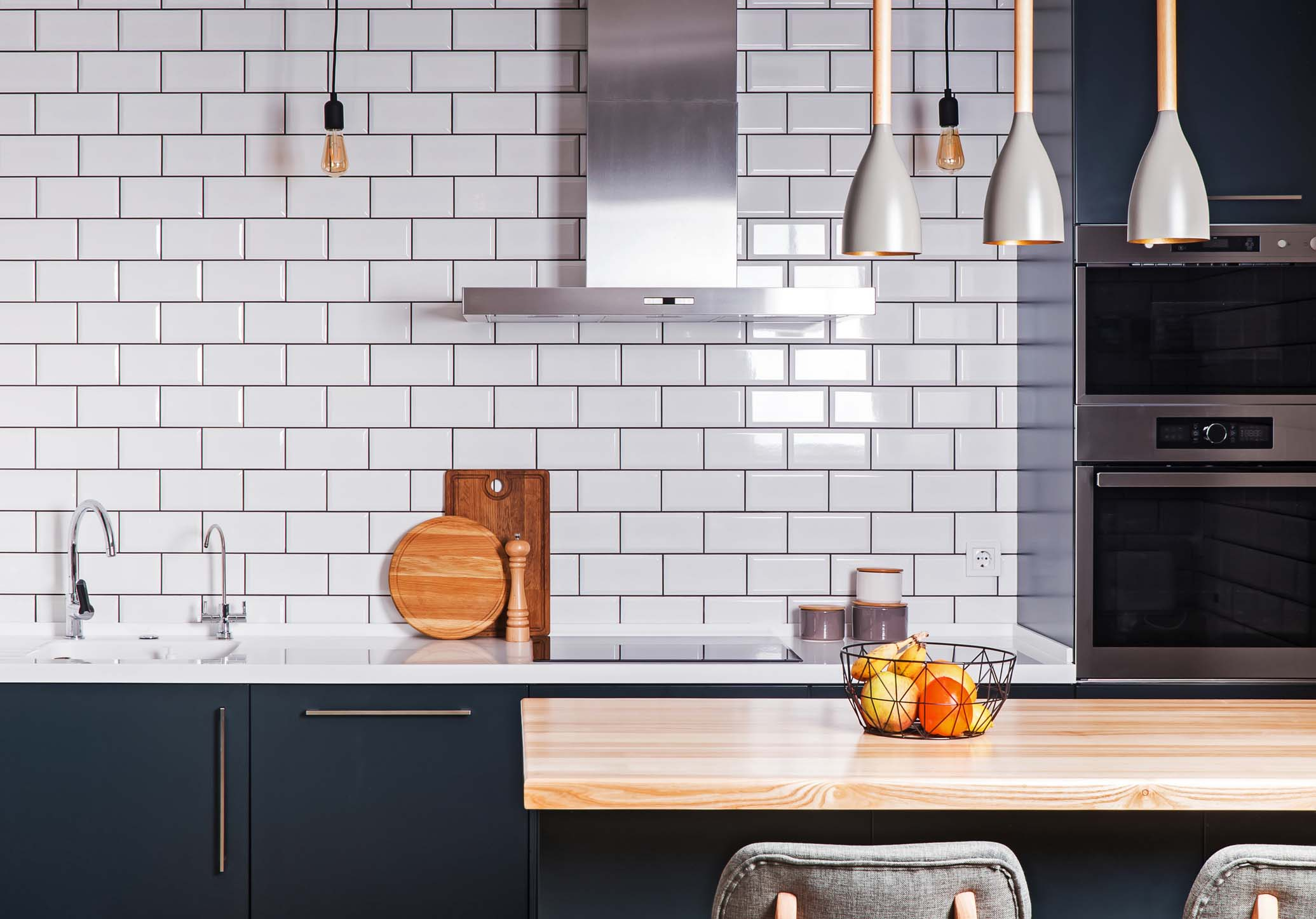 White subway tile backsplash in a kitchen