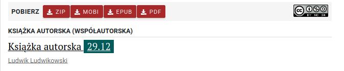 """Widok książki na liście. Wydoczny jest pasek """"pobierz"""" z formatami zip, mobi, epub i pdf, po prawej stronie ikona licencji. Poniżej widać tytuł """"Książka autorska 29.12"""" i autora Ludwik Ludwikowski."""