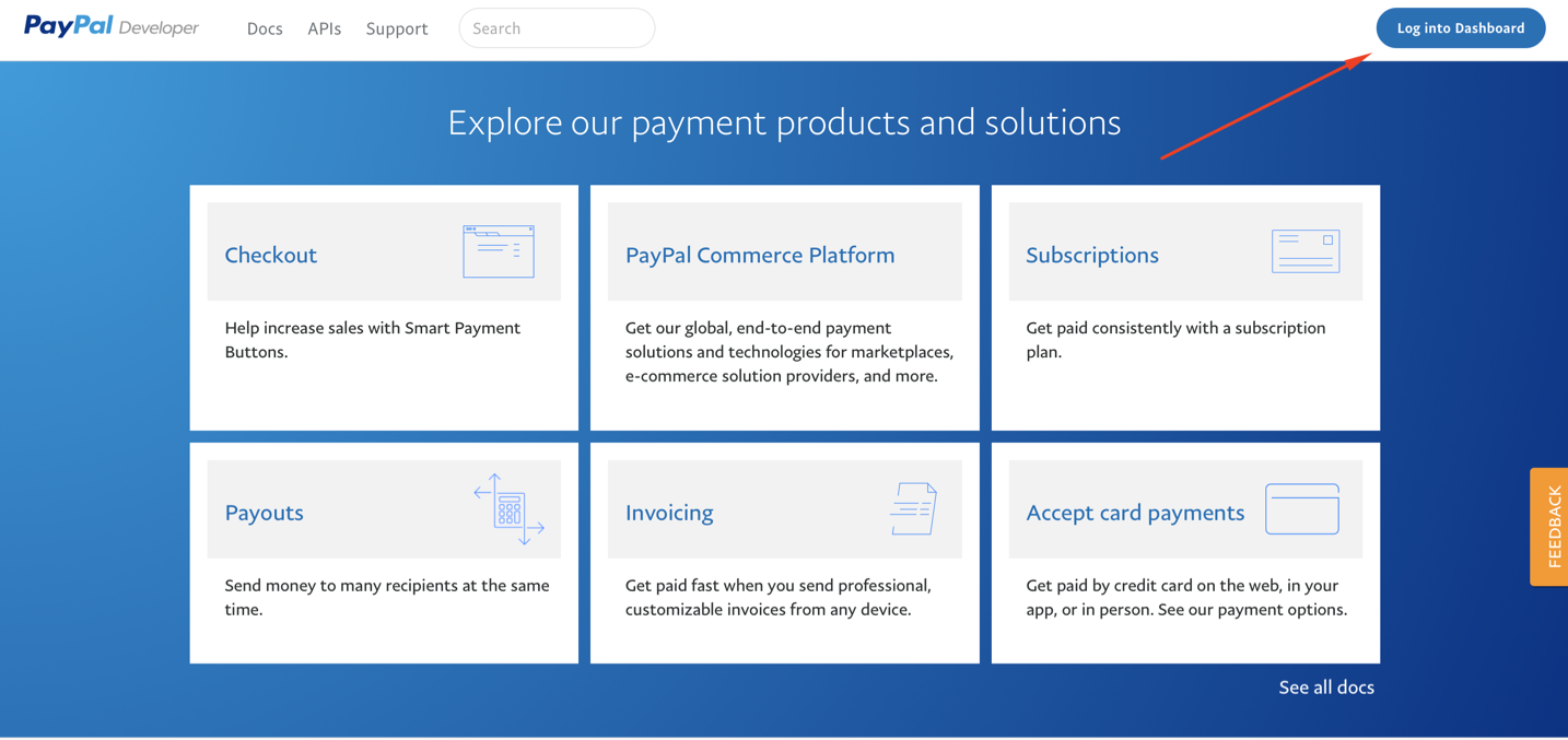 Logging into PayPal Developer account