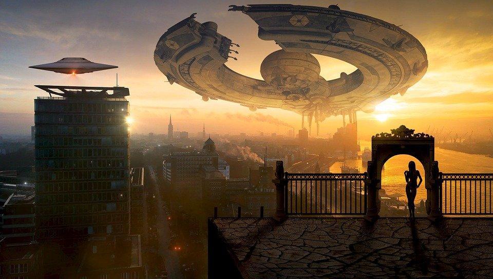 Fantasy, Ufo, City, Science Fiction, Spaceship