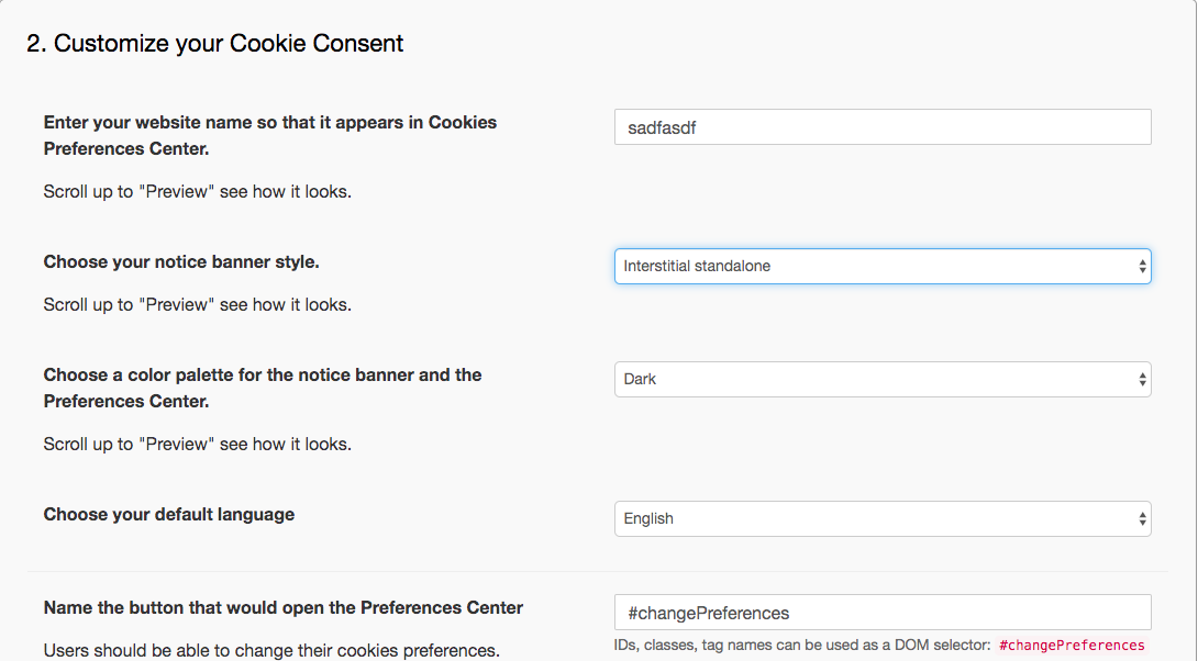 Customizing your Cookie Consent
