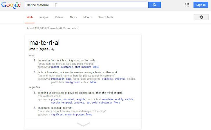 Google Search define 'material'