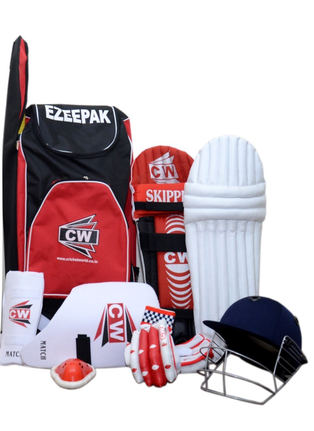 Cricket World Junior Red 7 Without Cricket Bat Sports Kit