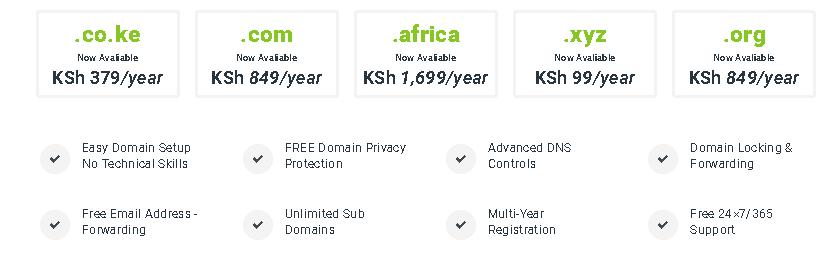 HostPinnacle Kenya dormain pricing