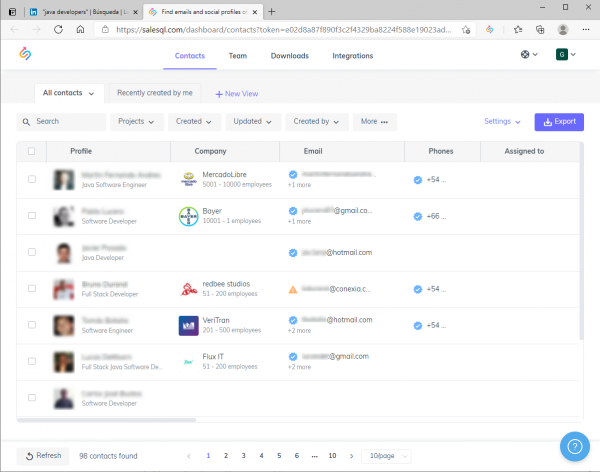 contacts in salesql