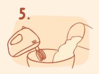 牛軋餅作法-將奶油、奶粉倒入糖漿攪拌均勻