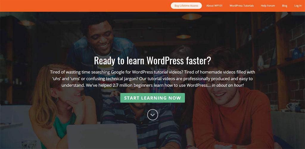 página inicial da plataforma de vídeos wp101