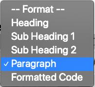 Tool menu to format text