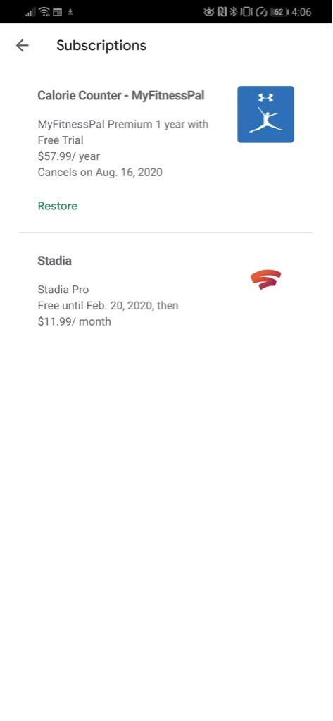 Tap your Stadia Pro subscription