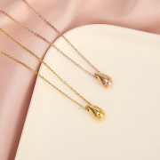 Korean Style Creative Titanium Steel Necklace Cool Water Drop Pendant Rose Gold Non-Fading Jewelry Choker Wholesale
