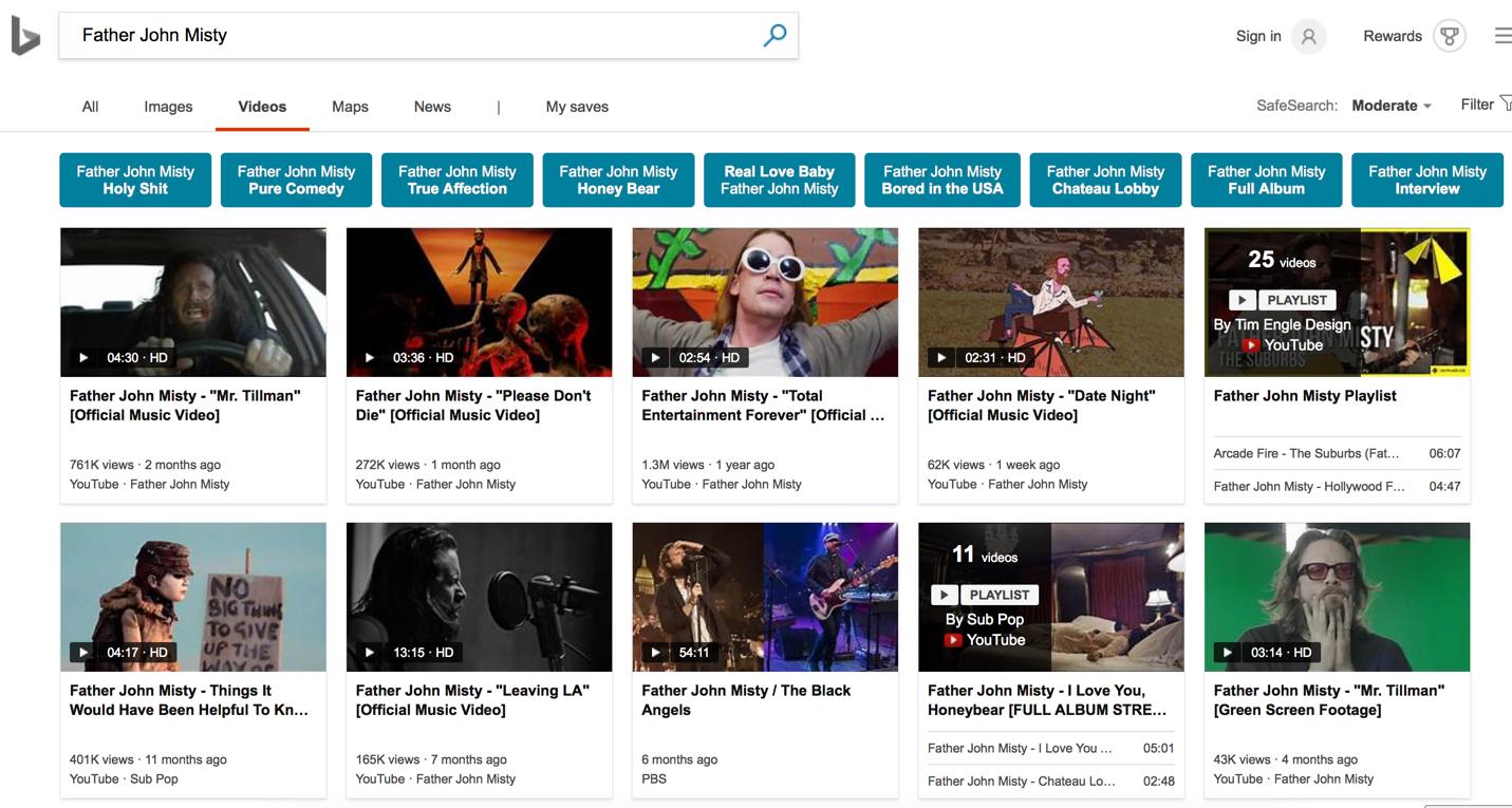 giao diện kết quả tìm kiếm video trên Bing