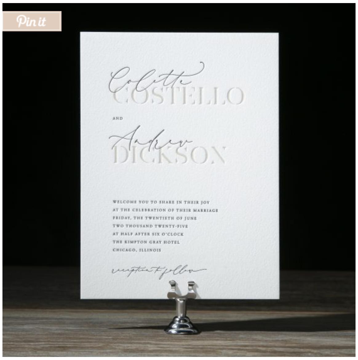 debossed lettering invitation